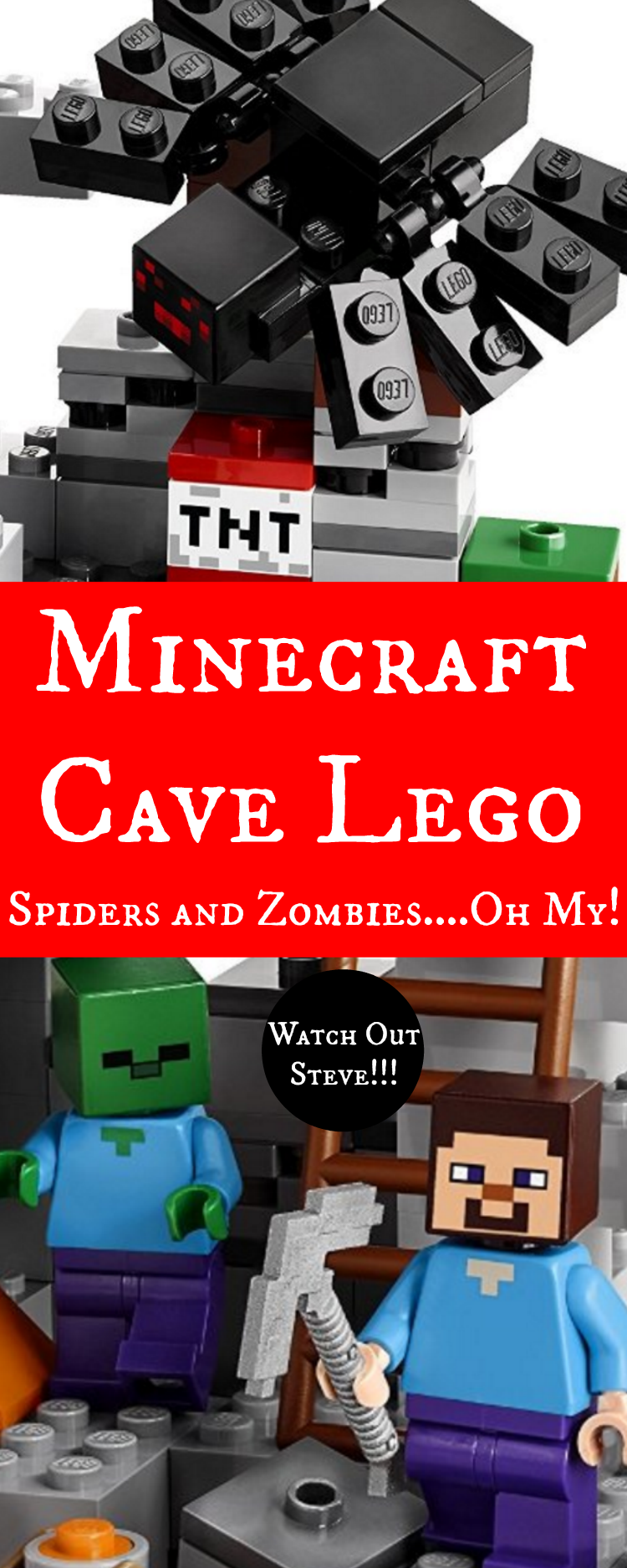 Minecraft Cave Lego - Spiders and Zombies....Oh My!