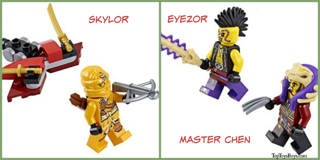 Skylor, Eyezor, and Master Chen from Ninjago Copter Lego Set
